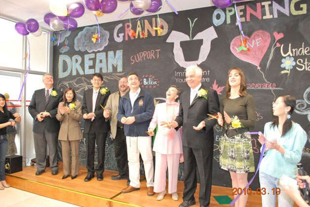 The release of balloons at the Grand Opening symbolized young