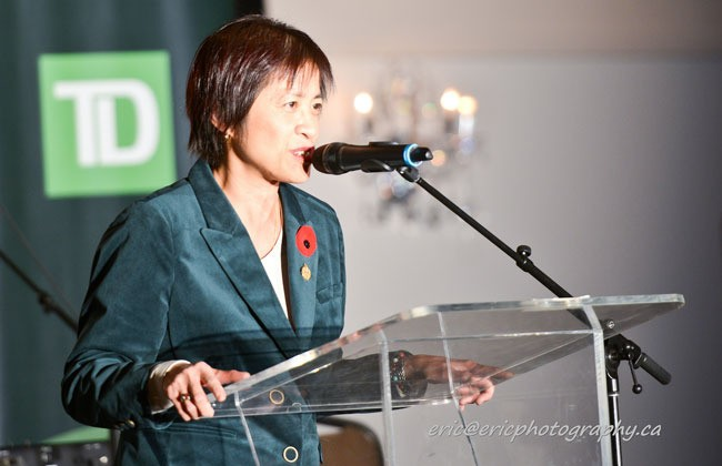 MPP Soo Wang gives a congratulation speech